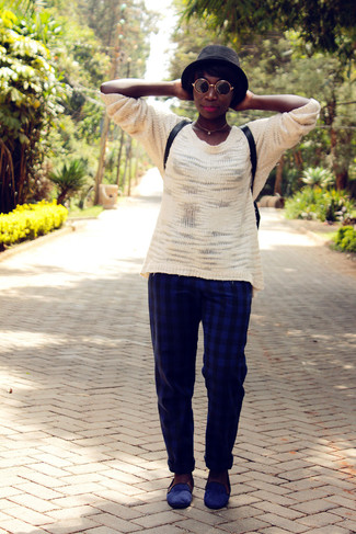 How to wear: white oversized sweater, navy check dress pants, navy suede loafers, black leather backpack