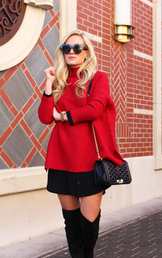 A red oversized sweater and black sunglasses are great essentials to incorporate into your current wardrobe. Let's make a bit more effort now and go for a pair of black suede over the knee boots. We love how perfect this one is for transitional weather.