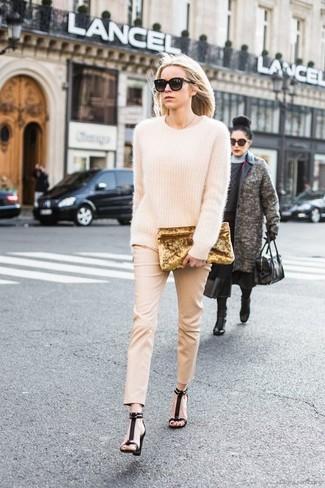 How to wear: beige mohair oversized sweater, beige skinny pants, black suede heeled sandals, gold velvet clutch