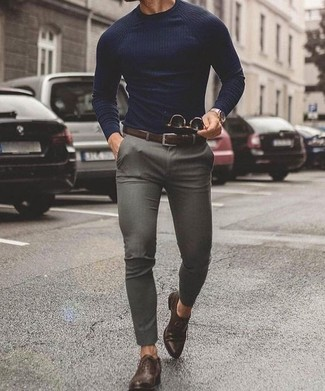 How to wear: dark brown leather belt, dark brown leather oxford shoes, grey chinos, navy crew-neck sweater