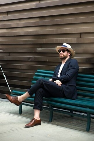 How to Wear a Beige Straw Hat For Men: Opt for a navy suit and a beige straw hat to achieve an interesting and modern-looking relaxed outfit. Feeling experimental today? Polish off this look by slipping into a pair of brown leather oxford shoes.