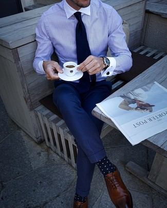How to wear: navy tie, brown leather oxford shoes, navy dress pants, white and blue vertical striped dress shirt
