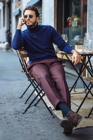 How to wear: black sunglasses, dark brown suede oxford shoes, burgundy dress pants, navy turtleneck
