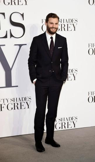 How to wear: dark purple print tie, black leather oxford shoes, white dress shirt, black suit