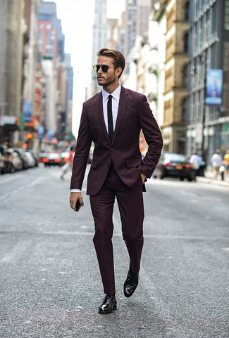 How to wear: black tie, black leather oxford shoes, white dress shirt, dark purple suit