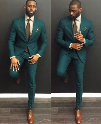 How to wear: brown tie, brown leather oxford shoes, beige gingham dress shirt, dark green suit
