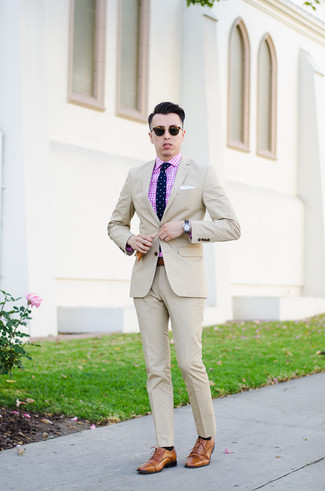 How to wear: navy polka dot tie, tan leather oxford shoes, pink gingham dress shirt, beige suit