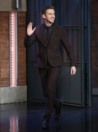 How to wear: black tie, black leather oxford shoes, navy dress shirt, burgundy vertical striped suit