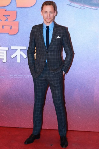 How to wear: navy knit tie, black leather oxford shoes, blue dress shirt, charcoal check suit