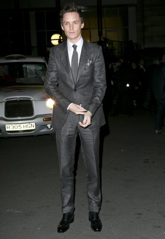How to wear: grey knit tie, black leather oxford shoes, white dress shirt, charcoal suit