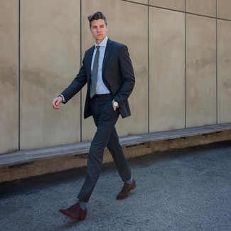 How to wear: grey tie, dark brown suede oxford shoes, light blue dress shirt, charcoal suit