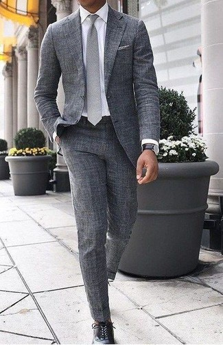 How to wear: grey tie, black leather oxford shoes, white dress shirt, grey wool suit