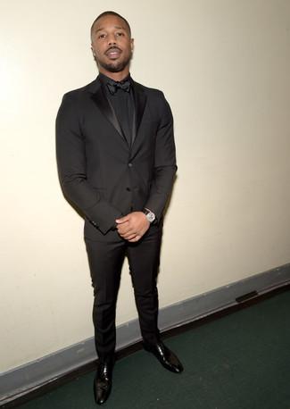 How to wear: black bow-tie, black leather oxford shoes, black dress shirt, black suit