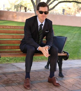 How to wear: black leather zip pouch, brown leather oxford shoes, light violet dress shirt, black suit