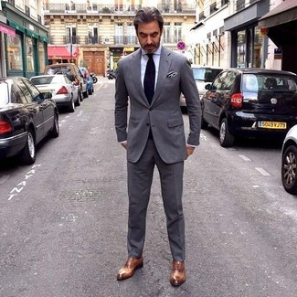 How to wear: black tie, brown leather oxford shoes, white dress shirt, charcoal suit