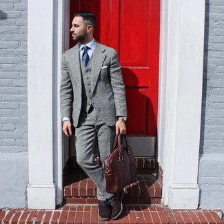 How to wear: brown leather briefcase, dark brown suede oxford shoes, light blue dress shirt, grey wool suit