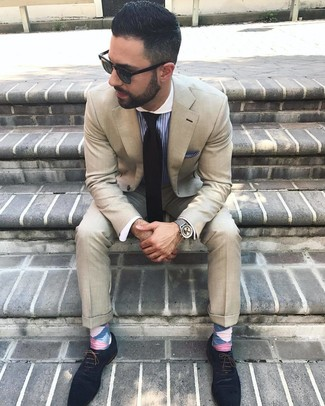 How to wear: black tie, navy suede oxford shoes, blue vertical striped dress shirt, beige suit