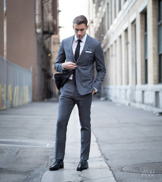 How to wear: black tie, black leather oxford shoes, white dress shirt, charcoal suit
