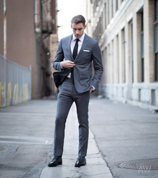Men's Black Tie, Black Leather Oxford Shoes, White Dress Shirt, Charcoal Suit
