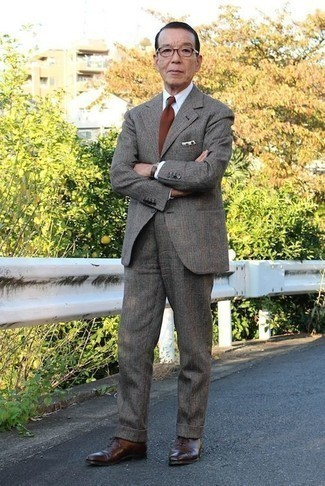 How to Wear a Dress Shirt For Men: Wear a dress shirt with a charcoal plaid wool suit for a classic and elegant silhouette. Our favorite of a myriad of ways to round off this look is dark brown leather oxford shoes.