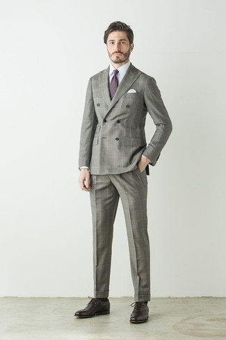 How to Wear a Violet Print Tie For Men: Go all out in a grey check suit and a violet print tie. The whole ensemble comes together quite nicely when you introduce a pair of dark brown leather oxford shoes to the mix.