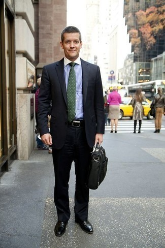 Men's Looks & Outfits: What To Wear In 2020: A black suit and a light blue vertical striped dress shirt are absolute essentials if you're piecing together a classy wardrobe that matches up to the highest sartorial standards. The whole look comes together when you complete your getup with black leather oxford shoes.