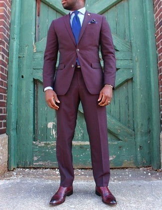 How to Wear a Violet Suit: Consider pairing a violet suit with a white dress shirt for a proper classy look. Grab a pair of burgundy leather oxford shoes and ta-da: the look is complete.