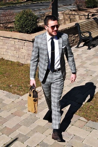 Men's Looks & Outfits: What To Wear In a Dressy Way: This is indisputable proof that a grey plaid suit and a white dress shirt look amazing when paired up in a polished look for a modern gent. Complement this look with a pair of dark brown suede oxford shoes and ta-da: the outfit is complete.