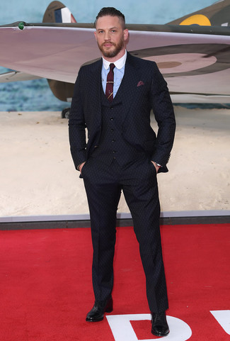 How to wear: burgundy tie, black leather oxford shoes, light blue dress shirt, navy three piece suit