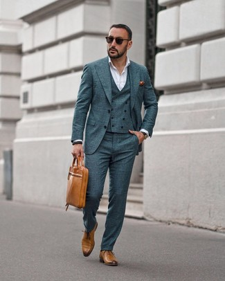 How to wear: tan leather briefcase, tan leather oxford shoes, white dress shirt, dark green check three piece suit