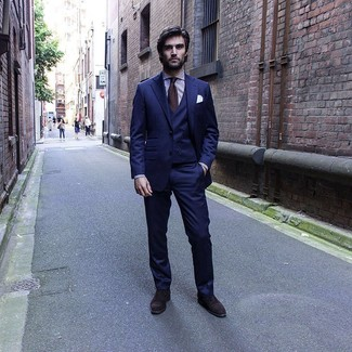 How to wear: dark brown tie, dark brown suede oxford shoes, white and purple vertical striped dress shirt, navy three piece suit