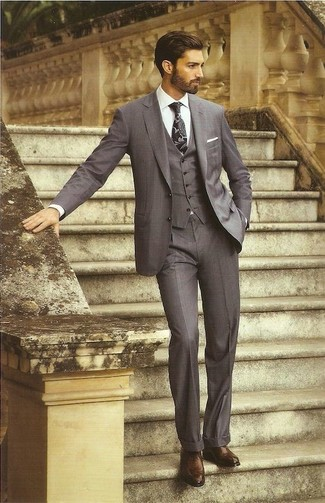 How to wear: black print tie, dark brown leather oxford shoes, white dress shirt, charcoal three piece suit