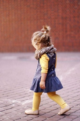 How to wear: grey scarf, beige oxford shoes, blue dress, yellow sweater