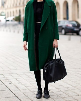 How to wear: black leather tote bag, black leather oxford shoes, black sheath dress, green coat