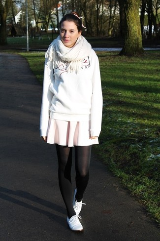 How to wear: white scarf, white leather oxford shoes, pink skater skirt, white print sweatshirt
