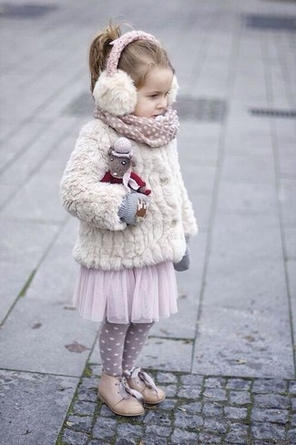 How to wear: grey gloves, beige oxford shoes, pink tulle skirt, white fur jacket