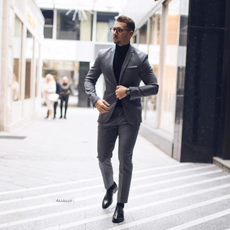 How to wear: white pocket square, black leather oxford shoes, black turtleneck, grey suit