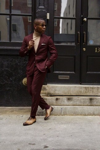 How to Wear Tan Leather Oxford Shoes: This ensemble demonstrates that it is totally worth investing in such timeless menswear items as a burgundy suit and a beige turtleneck. A pair of tan leather oxford shoes will give a different twist to an otherwise standard outfit.