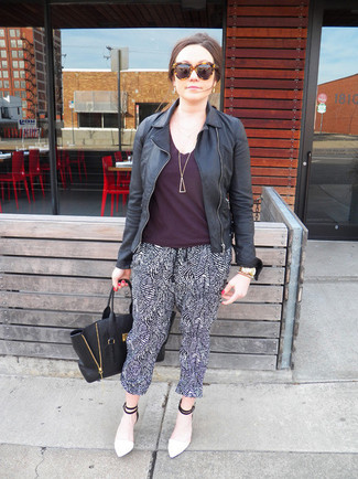 How to wear: white and black leather pumps, black and white pajama pants, dark purple crew-neck t-shirt, black leather biker jacket