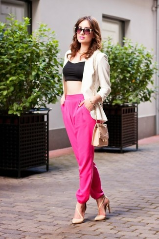 How to wear: beige leather pumps, hot pink pajama pants, black cropped top, white blazer