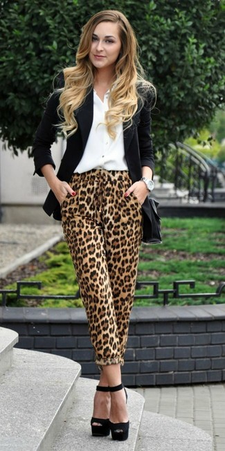 How to wear: black chunky suede heeled sandals, tan leopard pajama pants, white dress shirt, black blazer