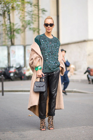 How to wear: brown leopard leather heeled sandals, black leather pajama pants, teal embroidered long sleeve blouse, camel coat