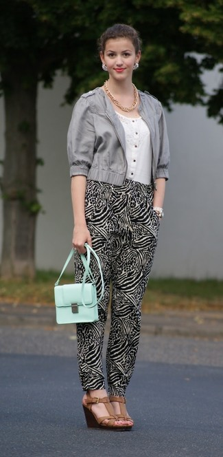 How to wear: brown leather wedge sandals, black and white pajama pants, white short sleeve blouse, grey leather biker jacket