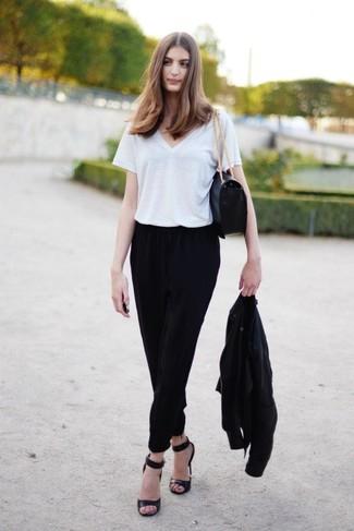How to wear: black leather heeled sandals, black pajama pants, white v-neck t-shirt, black bomber jacket