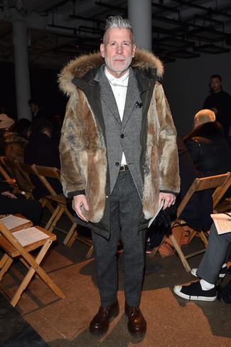 Nick Wooster wearing Brown Fur Parka, Grey Wool Blazer, White Dress Shirt, Charcoal Wool Dress Pants