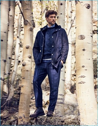 How to wear: navy wool parka, navy cable sweater, light blue dress shirt, navy vertical striped dress pants
