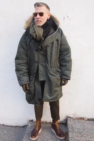 Nick Wooster wearing Olive Parka, Dark Brown Wool Dress Pants, Dark Brown Leather Brogue Boots, Olive Wool Scarf