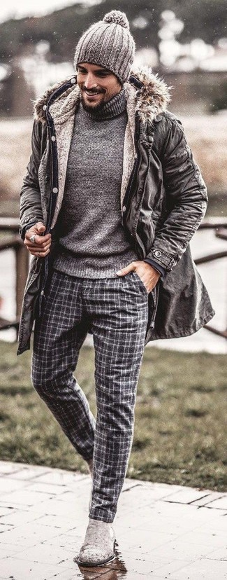 How to wear: grey parka, grey turtleneck, grey plaid wool dress pants, grey suede chelsea boots