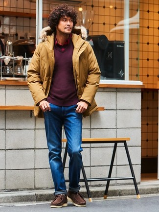 How to wear: mustard parka, burgundy v-neck sweater, red plaid long sleeve shirt, blue jeans