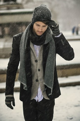 How to wear: black pea coat, brown wool blazer, white and red vertical striped long sleeve shirt, black jeans